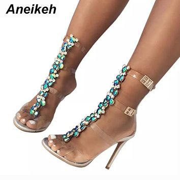 Summer sandals women Buckle Strap Luxurious Blue Crystal Chain Transparent PVC High Heel Open Toe Sandals Shoes