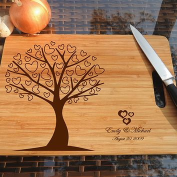 ikb499 Personalized Cutting Board Wood wooden wedding gift anniversary date heart tree