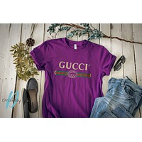 GUCCI classic tide brand men and women retro classic logo short-sleeved T-shirt purple