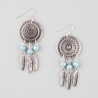 Full Tilt Metal Feather Dream Catcher Earrings Silver One Size For Women 25766414001