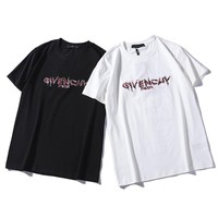2019 Givenchy SHORT SLEVEE TOP BLOUSE WOMEN MENS Embroidery T SHIRT