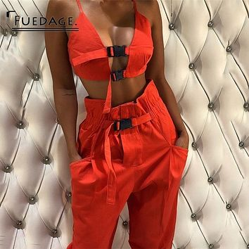 Fuedage Orange Black Autumn Two Piece Set Casual Women Two Piece Outfits Sexy Club Crop Top And Pants 2018 Tracksuit Set