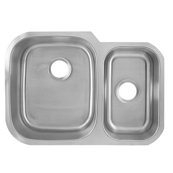 DAX-2920L / DAX 60/40 DOUBLE BOWL UNDERMOUNT KITCHEN SINK, 18 GAUGE STAINLESS STEEL, BRUSHED FINISH