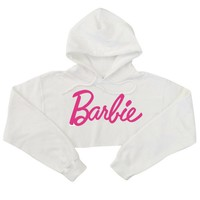 Barbie Cropped Hooded Sweatshirt