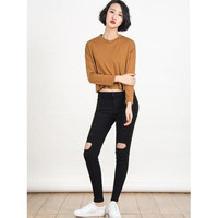 Camel Dropped Shoulder Raw Edge Crop T-shirt