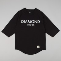 Diamond Classic 3/4 Sleeve Raglan T-Shirt - Black