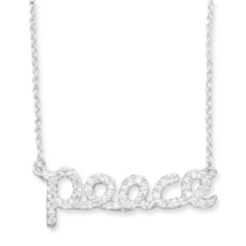 """16in Cubic Zirconia """"peace"""" Necklace"""