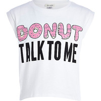 River Island Girls white donut talk to me print t-shirt
