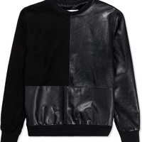 Black Suede/Leather Section Sweater