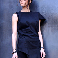 NEW Black Cotton Extravagant  Tunic Top / Asymmetrical  Sexy Low Back Top A12120