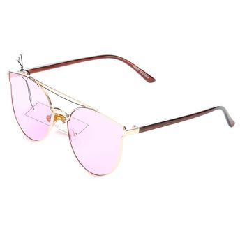 Purple Double Top Bar Cateye Fashion Sunglass