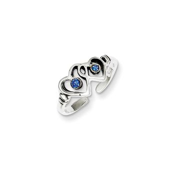 Blue Cubic Zirconia Dual Heart Toe Ring in Antiqued Sterling Silver