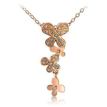 RED APPLE Stylish Four Butterfly Necklace (Golden)