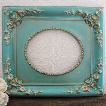 Tiffany Blue Antique Picture Frame Shabby Chic Ornate Wall Decor