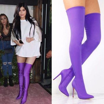 Akira 203 Kylie Jenner Inspired Tall Purple Boots