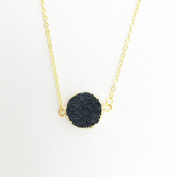 Black Druzy Circle Connector Necklace // Gold Finish // Blackbird Jewelry Luxe Collection // {L061}