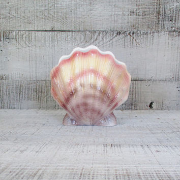 Vintage Shell Vase Seashell Vase Clam Shaped Vase Nautical Vase Seymour Mann Vase Beach Vase Mid Century Vase Cottage  Beach Vintage Coastal