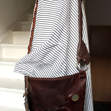 Small leather raw edges gypset chocolate brown washed leather ostrich purse leather  autumn fall hobo tribal feather bag
