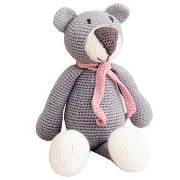 Atty Grey Bear Organic Stuffed Animal