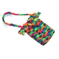 Neon Black Rainbow Small Purse - Tote Bag