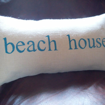 beach house Burlap Decorative Pillow Cover 12 x 24 by North Country Comforts / Beach Pillow Cover / Burlap Pillow Cover