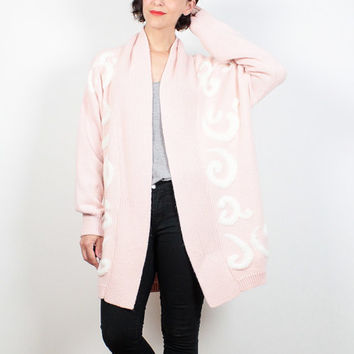 Vintage 80s Sweater Pale Pink Cream Oversized Cardigan 1980s Open Front Cocoon Sweater Coat New Wave Pastel Jumper Knit M L Extra Large XL