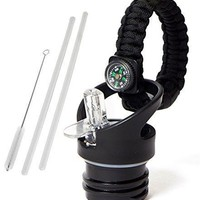 WaterFit Straw Lid + Paracord Handle for Hydro Flask Standard Mouth Sport Water Bottle with 2 Straws and Straw Brushes (Black)