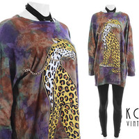 """Leopard Print Top XL 80s Clothing Vintage Tie Dye Shirt Oversized T-Shirt Novelty Print Hand Painted Cat Print Top Vintage Clothing 48"""" bust"""