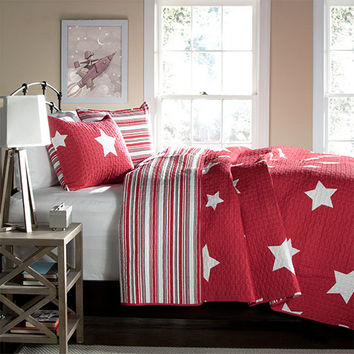 Lush Decor C22771P14-000 Star Red Three-Piece King Quilt Set - (In No Image Available)