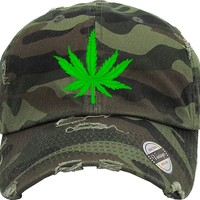 MARIJUANA Distressed Baseball Hat