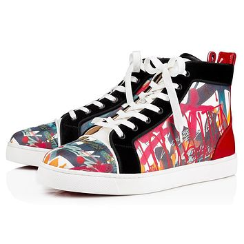 Christian Louboutin Cl 19s Louis Orlato Men's Flat Canvas Serigraf Version Multi Sneakers