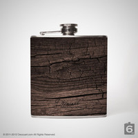 Distressed wood grain hip flask, liquor hip flask, stainless steel 6 oz hip flask S031