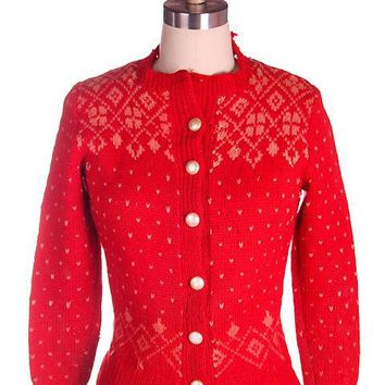 Vintage Cardigan Sweater Hand Knit Red Patterned Wool  1940s Distressed S-M