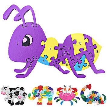 Wooden Jigsaw Educational Toys Animals Elephant Cow Ant Dinosaur Puzzle Toy Numbers Alphabetic Letters Toys for Children