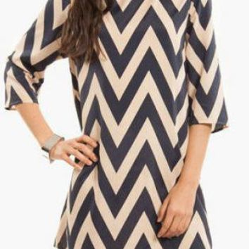 Cream and Navy Chevron Dress