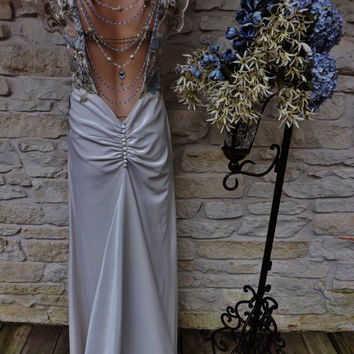 CUSTOM GREAT GATSBY Style Wedding Dress Beige Velvet Blue Gold Flower Swarovsky Beaded Bare Back Flapper Art Deco Art Noveau Edwardian Dress