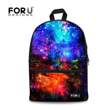 FORUDESIGNS Women Backpack Canvas Galaxy Star Universe Space Printing Backpacks for Teenager Girls School Bag Mochila Feminina