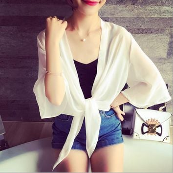 Casual Cardigan Sweaters Women Shrugs Summer Plus Size Office Beach Wrap Coat Women Short Small Shawl Cropped Cardigan