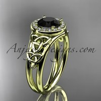 14kt yellow gold diamond celtic trinity knot wedding ring, engagement ring with a Black Diamond center stone CT7131