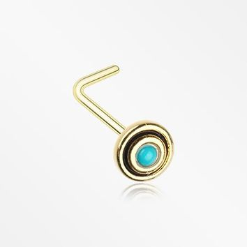 Golden Tribal Circle Turquoise L-Shaped Nose Ring