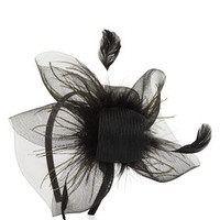 Tan BCBG Feather Net Fascinator Headband