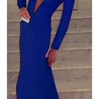 Blue Plunging V Neck Long Sleeve Bodycon Flowing Skirt Evening Maxi Dress