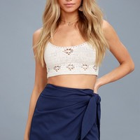 Marguerite Navy Blue Wrap Mini Skirt