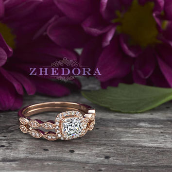 Cushion Cut Engagement Ring band set with Art Deco design band Solid 14k /18k Rose Gold, Cushion Cut Moissanite bridal Set by Zhedora
