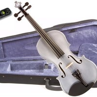 Music Basics Violin Complete Kit with Free Tuner - Silver 4/4 Full Size (VLN-12-Silver 4/4)