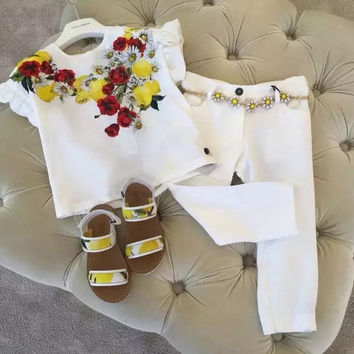 2016 Summer  Brand Flower Kids Clothes 2pcs children girls clothing set 3-13Y print girls clothes butterfly sleeve t-shirt+pants