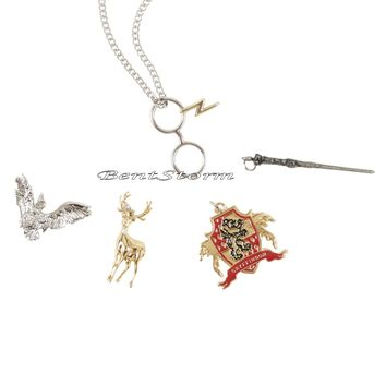Licensed cool Harry Potter Wand Deer Owl Interchangeable 5 Multi Charm Pendant Necklace Set