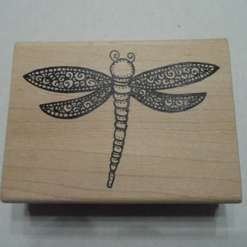 Rubber Stamp Dragonfly Flying Insect Wood Mounted A Stamp in the Hand NEW