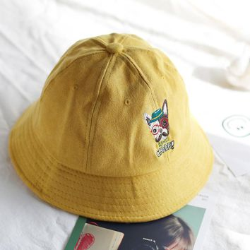New Embroidered Dog Bucket Hats Fold Boonie Caps Black Fisherman Mountaineer Fold Hats Sunscreen Caps Visor for Adults