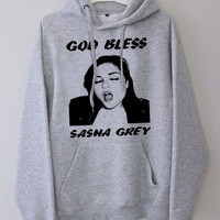God Bless Sasha Grey gray hoodie for men and women